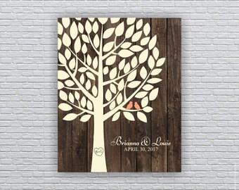 Wedding Guest tree, 50 Leaf, Wedding Printable, Wedding Wall Art 16x20, Wedding Guest Book Alternative, Wedding INSTANT DOWNLOAD