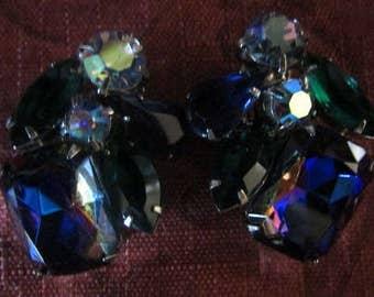 Striking Pair of Vintage Multi Color Rhinestone & Silver Tone Clip On Earrings