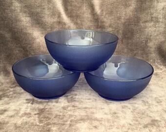 Set of 3 Brazil made cobalt blue sauce nut candy or custard bowls.