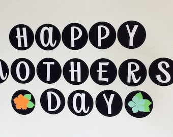 Black & White Mothers Day Circle Banner