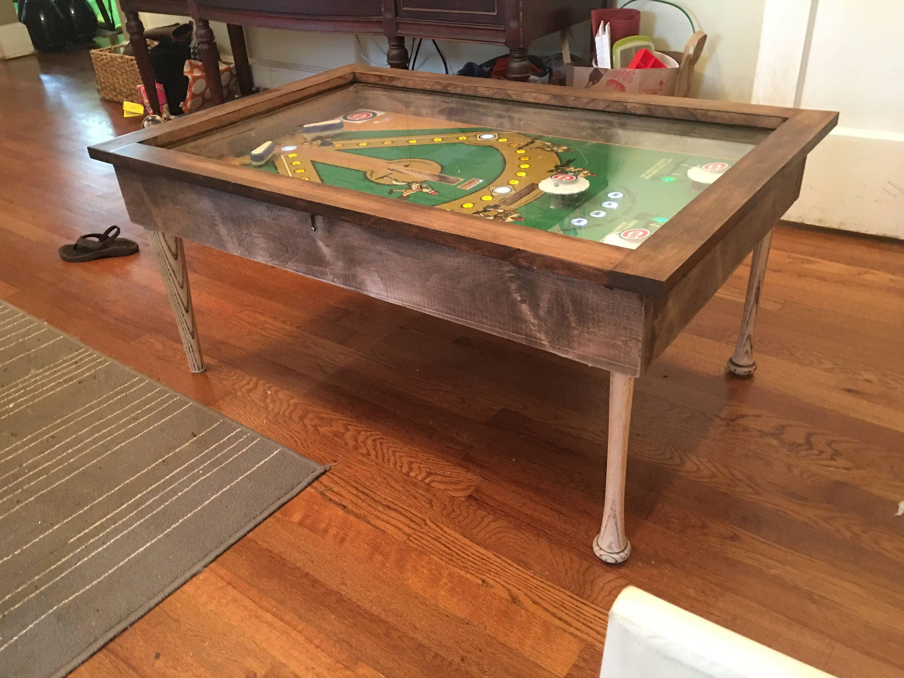 Baseball themed pinball coffee table with LED lighting and