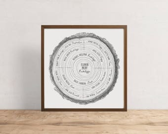 Custom Family Tree (4 Ring) - personalized family tree, tree ring, custom art, modern family tree, anniversary gift, genealogy, Father's Day
