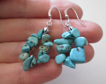 Turquoise Sterling silver vintage handcrafted Dangle earrings