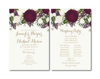 PRINTABLE Wedding Program, Ceremony Program, Order of Service Program, Wedding Party Program, Ceremony Order of Service, Programs #CL158