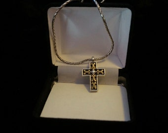 Brighton Reversible Cross Necklace Gold and Silver Tone Retired Vintage