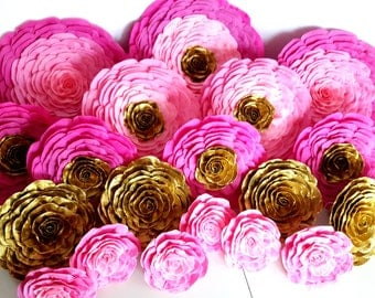 14 large paper flowers wall bakdrop Decor giant paper flowerspink gold party bridal kate shower spade baby Bollywood Party wedding nursery