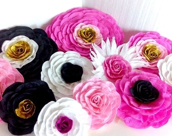 12 giant paper flowers Pink kate bridal spade baby shower paris Wall chanelе Photo backdrop Wedding reception flowers birthday party Nursery