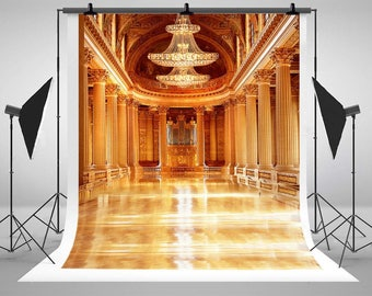 European Gorgeous Palace Building Photography Backdrops Indoor Photo Backgrounds for Wedding Studio Props