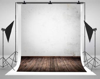 White Wall Photography Backdrops Vintage Wood Floor Photo Backgrounds for Children Stuido Props J01377