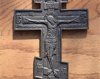 Antique style cast iron hanging holy crucifix Jesus on the cross relic