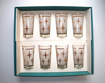 Mid Century Dominion Glass Atomic Starburst Glasses, Set of 8, Near mint to Mint Condition, In The Original Box  FREE SHIPPING