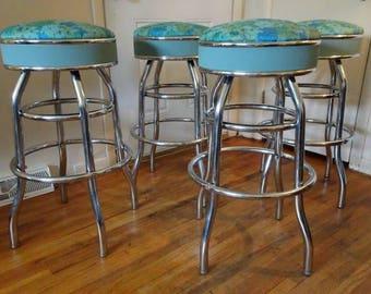 Vintage 1950u0027s Turquoise u0026 Chrome Padded Swivel Bar Stools & Swivel bar stool | Etsy islam-shia.org