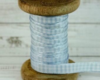 10mm Baby Blue Gingham Ribbon