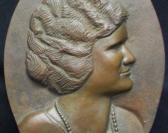 Antique Bronze Oval Relief Portrait Plaque of Woman wearing Pearls