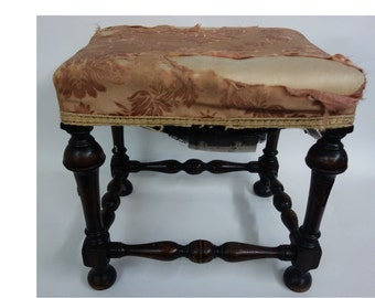 Antique William and Mary style wooden stool with padded top for reupholstery