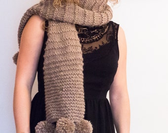 Cozy extra long hand knitted scarf in wool with pon pon, winter woman accessory, gift for her, mod. LIBRO APERTO