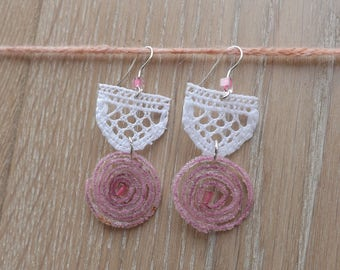 "White lace chandelier Earrings - ""Lollipop"" - boho earrings - gift for her"