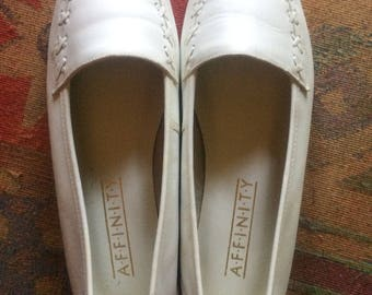 White leather loafers. Womens size 7.5