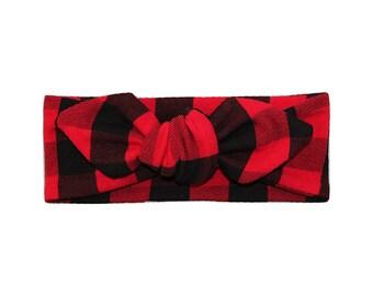 Red Buffalo Plaid Headband- Black and Red Plaid Headband - Girls Headband - Baby Headband - Knotted Headband - Baby Headwrap - Buffalo Check