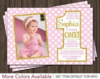 Pink and Gold First Birthday Invitation - 1st Birthday Invitation