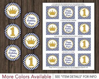"""Prince Birthday Cupcake Toppers - Printable Royal Blue and Gold Birthday 2"""" Cupcake Toppers"""