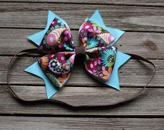 Aqua and brown baby headband - flower baby heabband - Baby Headband - cute baby bow - spring baby headband