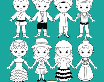 Children around the World Part 2 - Digital Stamp clipart, World Children digi stamps, Unity clipart, Line art, Coloring pages