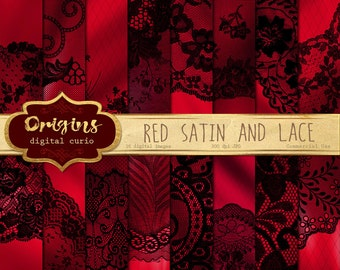 Red Satin Digital Paper, red satin and black lace backgrounds, digital scrapbook paper, gothic goth victorian vampire black lace papers,