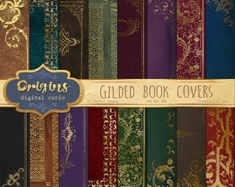 Gilded Book Covers Digital Paper, gold ornamental decorative book dust jackets, printable 5x7 invitation backgrounds, vintage antique books