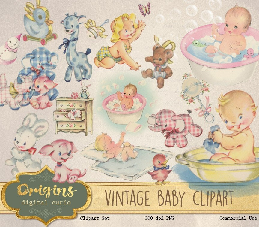 Vintage Baby Clipart antique baby shower clip art old