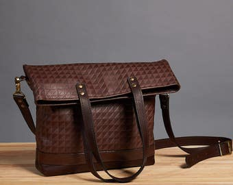 Ready to ship. Leather foldover bag. Leather handbag. Dark brown crossbody bag. Leather shoulder bag. Crossbody leather bag.