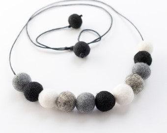 Monochrome Black Felt Ball Necklace. Beaded Jewellery. Pom Pom Jewelry. Wool Felt Ball Accessories.  Black White Grey Beaded necklaces.