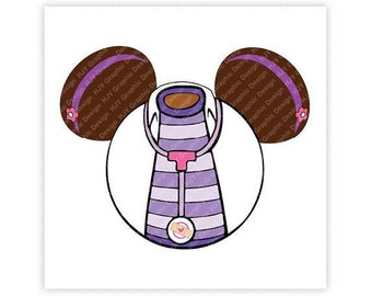 Disney, Doc McStuffins, Icon Minnie Mouse Head, Mickey, Mouse Ears, Illustration, TShirt Design, Cut File, svg, pdf, eps, png, dxf