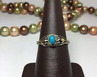 Sterling Silver Vintage Turquoise Ring Size size 6.75 - N.O.S