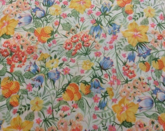 Vintage flowered Fabric Silky 3 yards