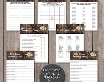Rustic baby shower games/ Invitations - DOWNLOAD