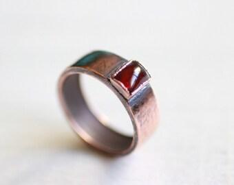 Natural Garnet Copper Ring Copper electroformed ring Copper Electroplated ring Natural garnet ring Copper jewelry