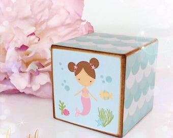 New!! Mermaid Wooden Cube...