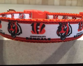 Bengals Small and Medium Dog Collar with Optional Matching Leash
