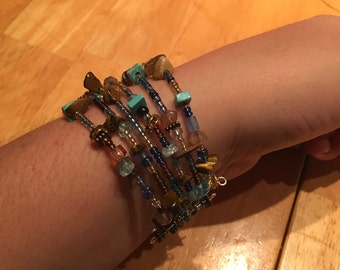 Brown and blue hand beaded cuff bracelet