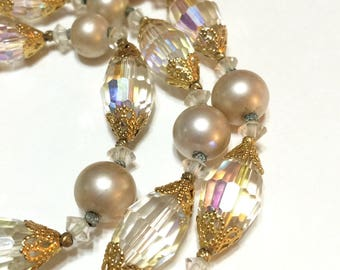 Crystal & Pearl Bracelet, Vendome Multi Strand Pearl Bracelet, Classic Jewelry, 1960s, Bridal Special Occasion Jewelry, Vintage