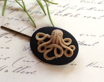 Hair Clip Cinnamon And Black Octo Bobby Pin