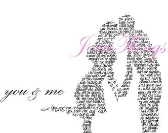 "Dave Matthews Band ""You & Me"" Handwritten Lyric Silhouette PRINT- Boy/Girl - Big!! 11""x17"" - DMB Lyric Art - In Stock!"