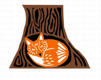 Fox in tree hollow svg/png/dxf cricut/silhouette digital cutting file/woodland svg/fox tree hollow/folk style svg/tree svg/animal svg/HTV