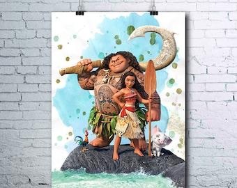 Moana - Moana Birthday - Moana Print - Moana Poster - Disney - Maui Print - Maui Poster - Moana Printables - Moana Art - Moana Posters