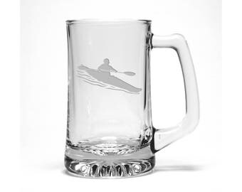Kayaker Beer Mug / Free Personalization / Kayaker Beer Glass / Water Sports Beer Glass / Personalized Beer Mug / Personalized Gift