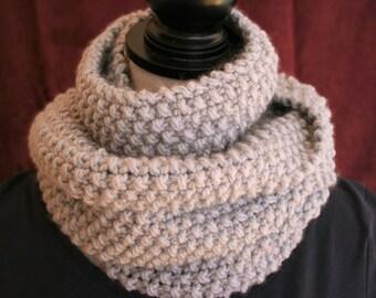 Cozy Hand Knit Grey Scarf / Chunky Scarf / Handknit Scarf/ Handmade Scarf / Knit Gray Scarf