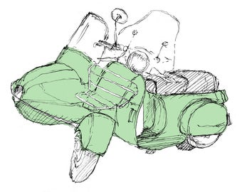 Ink Sketch of Vespa Scooter with Sidecar