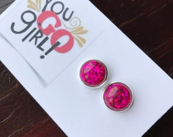 12mm Glitter Dome Resin Cabochon Earrings in Silver Studs Pink, Orange, Silver, Yellow