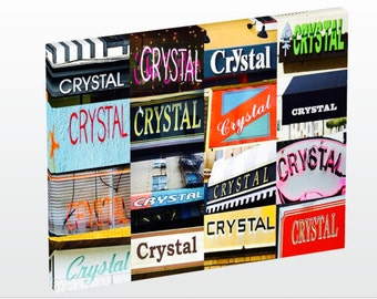Personalized Photo Canvas featuring the name CRYSTAL in photos of signs; Wall art; Home decor; Wall decor; Housewarming gift